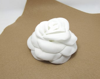 3 15/16 Inches White Satin Flower|Burned Edges|Satin Rose|Hair Flower|Brooch Pin|Fabric Flower|Applique|Handmade|Floral Supply|Embellishment