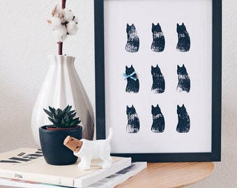 Nine lives, A4 poster stamped with nine cats