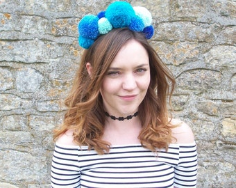 Jessie Pom Pom Headband - Blues