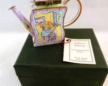 Kelvin Chen Enamel Miniature Teapot Guitar Table Flower Number 291 COA Boxed