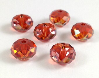 5040 RED MAGMA 8mm Swarovski Crystal Donut Rondelle Spacers 6pieces