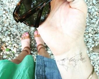 world map temporary tattoos valentine gift set of travel tattoos wanderlust globe fake tattoos boho fashion map outline simple wrist tattoo