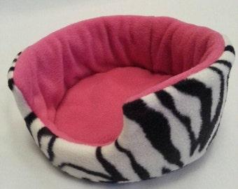 Fleece Cuddle Cup , Bed for Guinea Pig , Pygmy Hedgehog , Degu , Rat etc ( Zebra , Pink )  )
