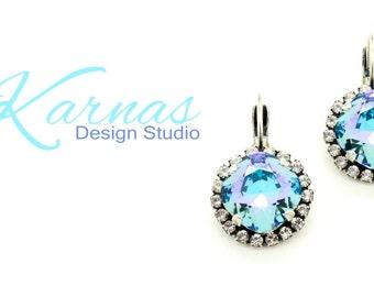 AQUA SHIMMER 12mm Halo Crystal Drop or Stud Swarovski Elements *Antique Silver *Karnas Design Studio *Free Shipping*