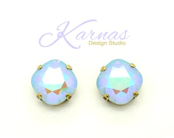 BLUE OPAL TWIST 12mm Crystal Cushion Cut Stud Earrings Swarovski Elements *Pick Your Finish *Karnas Design Studio *Free Shipping*
