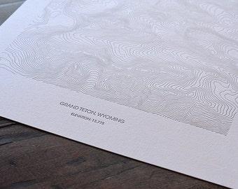 Grand Teton Topographic Poster - Letterpress