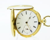 18K Yellow Gold Pocket Watch 21 Jewel by  Mathez Freres   1860-1880s English