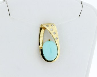14K Yellow Gold Pendant with Turquoise and Diamonds