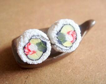 Sushi Earrings/ Stud - Miniature Food Jewelry, Polymer Clay Food. Sushi Jewelry. Sushi Rolls.