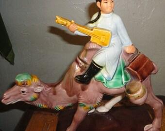 Lovely Pastel Colors Pottery Glazed Camel Girl Statue No.235