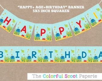 Under the Sea Party Banner, Sea Creatures, Under the Sea Birthday Banner, Boy Under the Sea Banner, Primary (#593)