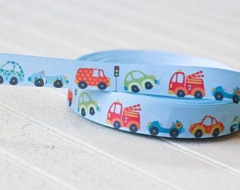 "7/8"" grosgrain ribbon, grosgrain ribbon, cars and trucks ribbon, craft supplies,"