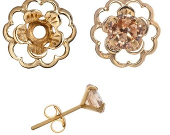 Champange Gold Post Earring Set Includes Champange Cubic Zirconia Posts and Gold Flower Style Earring Jacket