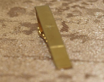 Tie Bar, smooth and textured, gold tone, small stone