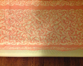 SALE: Was 16.99. Now 12.99. Pink Damask Table Runner, Vintage, Good Condition
