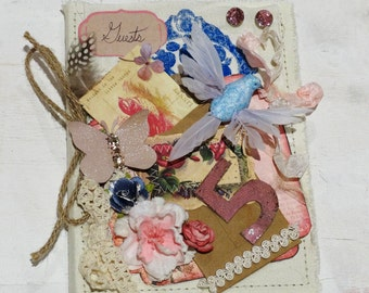 Shabby Chic Guest Book, Decorated Notebook