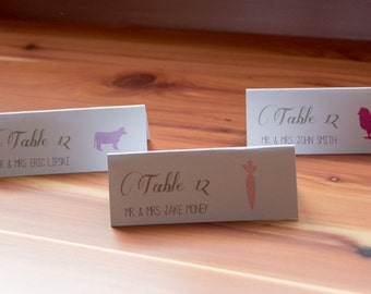 Wedding Place Cards (Hand Stamped Food Choices)