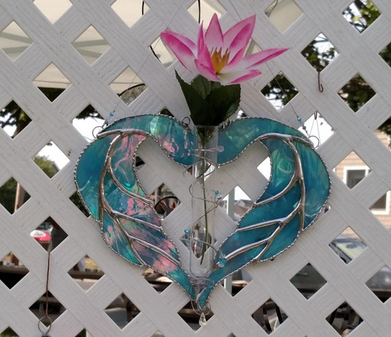 Stained glass heart Blue stained glass heart wings stained - photo#5