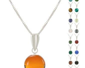 925 Sterling Silver Natural 6mm Round / Ball Gemstones Pendant Necklace