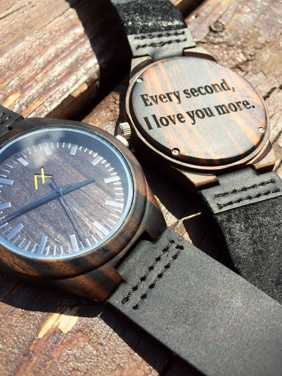 Mens Wood Watch With Custom Engraving, Wooden Watch, Dark Wood Watch, Gift for Him, Mens Wood Watch, Personalized Wood Watch, Wedding Gift