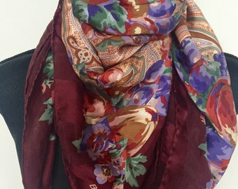 Vintage Bill Blass Silk Floral Scarf Free Shipping