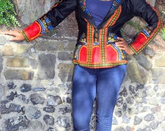 African print black dashiki jacket.