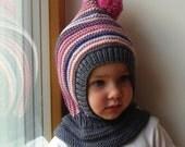 READY TO SHIP all sizes. Merino Pixie Balaclava Baby/Toddler/Girl Hoodie with Pom Pom, Grey Pink with Neckwarmer.