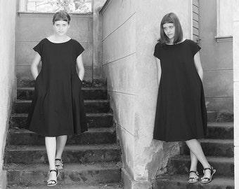 Women's Circle Dress Black Dress Women's Dress Dress With Pockets Women's Clothing Organic cotton FREE SHIPPING international Jersey Dress