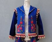 Bohemian Embroidered Blue Felt Jacket with Trims and Velvet size medium