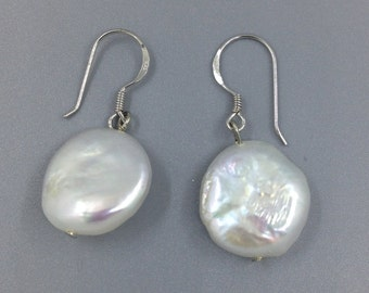 White Coin Pearl Earrings #4