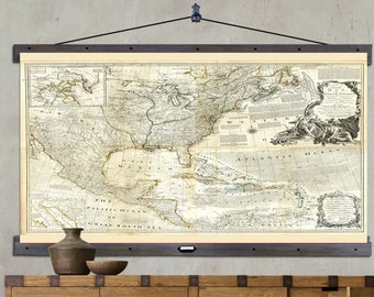 """Map of North America. Hanging or Pull Down Map. 60""""h x 44""""w,  Old School Chart,  Vintage Wall Map,  Antique wall map,  Pull Down Map 1775"""