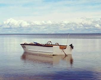 Boat photography, Fine Art Photography, horizontal wall art, anchor decor, seascape print, blue wall art, nautical, Baltic , sea wall art