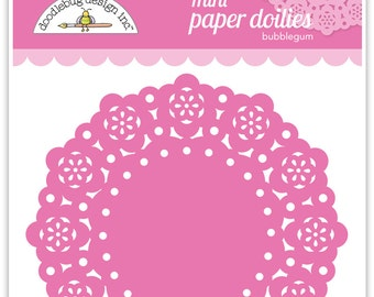 Mini Paper Doilies (Bubblegum) from Doodlebug - 75 Count