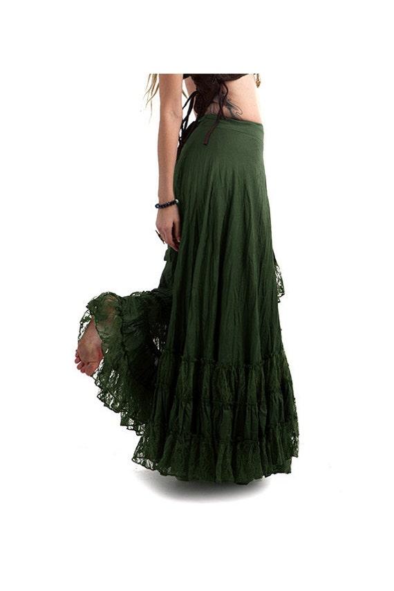 LONG GYPSY SKIRT flamenco skirt long wrap skirt dark green