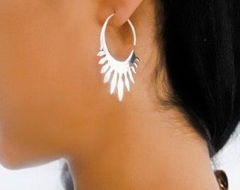 Silver Earrings - Silver Hoops - Gypsy Earrings - Tribal Earrings - Ethnic Earrings - Indian Earrings - Ttibal Hoops - Indian Hoops ( ES39)