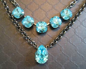 Turquoise Swarovski Crystal Necklace/5 Stone Crystal and Gunmetal Necklace/Tuquoise Statement Necklace/Blue Crystal Statement Necklace