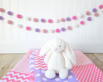 Girl Garland, Girl Nursery Decor, Pink Garland, Girl's Room Decor, Pom Pom Garland, Playroom Decor, Felt Ball Garland, Pinks and Purples