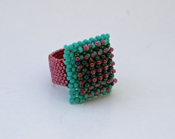 Hand Beaded Square Ring