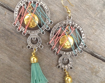 Handmade Tassel Earrings, Festival, Boho Tribal, Dream Catcher, Dangle, Sexy, Celebrity, Unique, Western, Native (Dream Captured Earrings)
