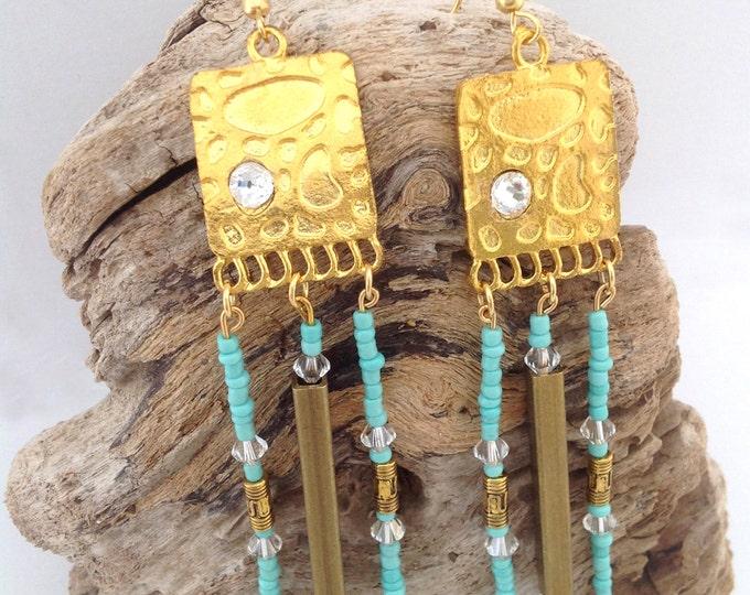 Handmade Festival Earrings, Gypsy, Tribal, Beaded, Boho, Celebrity, Statement, Healing, Swarovski, Sexy, Unique (Sandman Earrings Set 2)