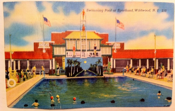 Vintage n j postcard wildwood swimming pool at sportland - West mesa high school swimming pool ...