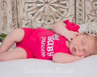 Baby Girl Princess Romper with Embroidered Name