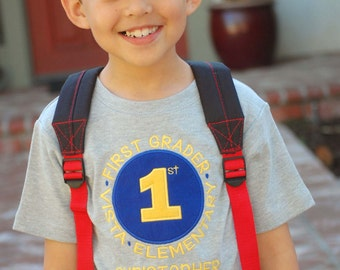 Boy School Shirt with Grade, School and Embroidered Name