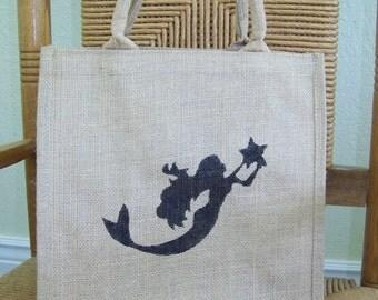 Mermaid tote, beach tote bag, Burlap tote bag, Ariel tote bag, reusable bag, Eco friendly bag, Market bag, Large tote bag, FREE SHIPPING!
