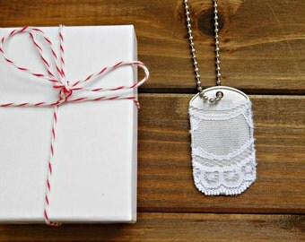 White Lace Necklace Military Dog Tag Necklace Metal Necklace Stainless Steel Silver Steel Necklace Lace Military Boho Layering Necklace