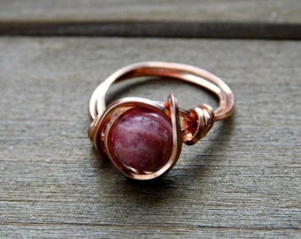 Rhodocrosite Ring Gemstone Promise Ring Wire Wrapped Crystal Ring Custom Fit Copper Ring 7.5MM Custom Valentines Anniversary Birthday Gift