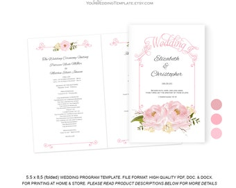 Pink Wedding program DIY| Ceremony program template| Wedding download| INstant   download| You edit the text| T124