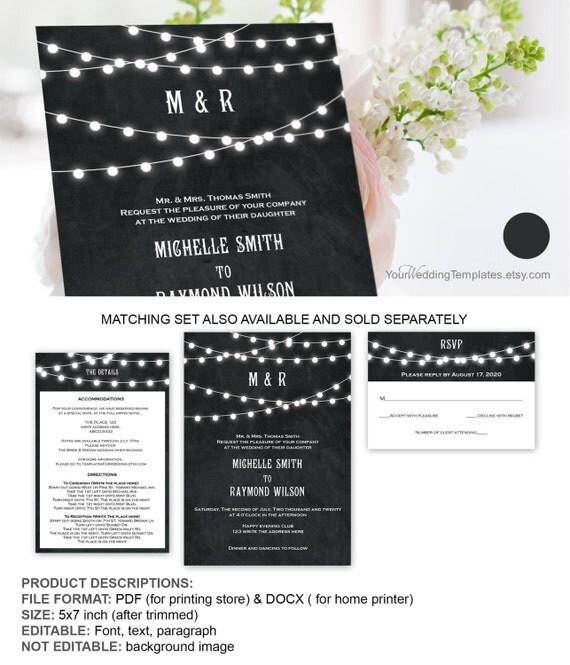 String Lights Template : String lights wedding invitation template DIY String light