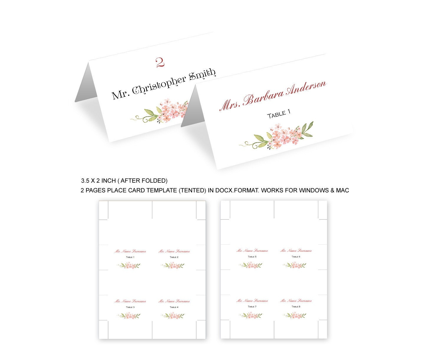 Rustic Pink Floral Wedding Placecards Template Wedding