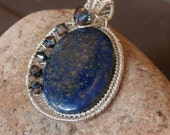 Sterling Silver Lapis Lazuli and Swarovski Crystal Necklace